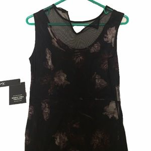NWT Vera Wang Black Floral Gown